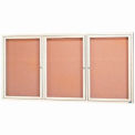 "Aarco 3 Door Framed Enclosed Bulletin Board Ivory Powder Coat - 72""W x 36""H"