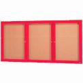 "Aarco 3 Door Framed Enclosed Bulletin Board Red Powder Coat - 72""W x 36""H"