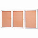 "Aarco 3 Door Framed Enclosed Bulletin Board White Powder Coat - 72""W x 36""H"