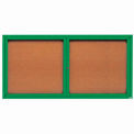 "2 Door Framed Illuminated Enclosed Bulletin Board Green Pwdr. Coat - 72""W x 36""H"