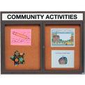 Aarco 2 Door Alum Framed Bulletin Board w/ Header, Illum Bronze Anod. - 60
