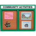 Aarco 2 Door Alum Framed Bulletin Board w/ Header, Illum Green Pc - 60