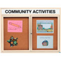 Aarco 2 Door Alum Framed Bulletin Board w/ Header, Illum Ivory Pc - 60