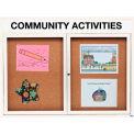 Aarco 2 Door Alum Framed Bulletin Board w/ Header, Illum White Pc - 60