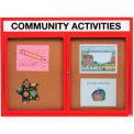 Aarco 2 Door Aluminum Framed Bulletin Board w/ Header Red Powder Coat - 60