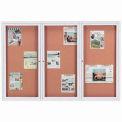 Aarco 3 Door Framed Enclosed Bulletin Board - 72