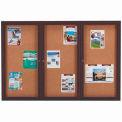 "Aarco 3 Door Framed Enclosed Bulletin Board Bronzed Anod. - 72""W x 48""H"