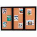 "Aarco 3 Door Framed Enclosed Bulletin Board Black Powder Coat - 72""W x 48""H"