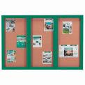 "Aarco 3 Door Framed Enclosed Bulletin Board Green Powder Coat - 72""W x 48""H"