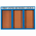 "Aarco 3 Door Aluminum Framed Bulletin Board w/ Header Blue Powder Coat - 72""W x 48""H"