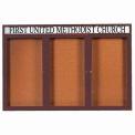 "Aarco 3 Door Aluminum Framed Bulletin Board w/ Header Bronze Anod. - 72""W x 48""H"