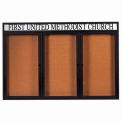 "Aarco 3 Door Aluminum Framed Bulletin Board w/ Header Black Powder Coat - 72""W x 48""H"
