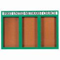 Aarco 3 Door Aluminum Framed Bulletin Board w/ Header Green Powder Coat - 72