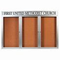 "Aarco 3 Door Aluminum Framed Bulletin Board w/ Header, Illuminated - 72""W x 48""H"