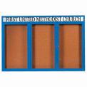 "Aarco 3 Door Alum Framed Bulletin Board w/ Header, Illum Blue Pc - 72""W x 48""H"