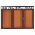 "Aarco 3 Door Alum Framed Bulletin Board w/ Header, Illum Bronze Anod. - 72""W x 48""H"