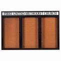 "Aarco 3 Door Alum Framed Bulletin Board w/ Header, Illum Black Pc - 72""W x 48""H"