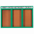 "3 Door Alum Framed Bulletin Board w/ Header, Illum Green Pc - 72""W x 48""H"