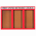 "3 Door Alum Framed Bulletin Board w/ Header, Illum Red Pc - 72""W x 48""H"