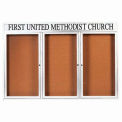 Aarco 3 Door Alum Framed Bulletin Board w/ Header, Illum White Pc - 72