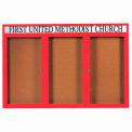 "Aarco 3 Door Aluminum Framed Bulletin Board w/ Header Red Powder Coat - 72""W x 48""H"