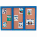 "Aarco 3 Door Framed Illuminated Enclosed Bulletin Board Blue Powder Coat - 72""W x 48""H"