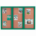 "Aarco 3 Door Framed Illuminated Enclosed Bulletin Board Green Pwdr. Coat - 72""W x 48""H"