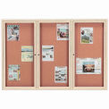 "Aarco 3 Door Framed Illuminated Enclosed Bulletin Board Ivory Pwdr. Coat - 72""W x 48""H"