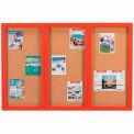 "Aarco 3 Door Framed Enclosed Bulletin Board Red Powder Coat - 72""W x 48""H"