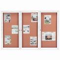 Aarco 3 Door Framed Enclosed Bulletin Board White Powder Coat - 72
