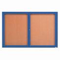 Aarco 2 Door Framed Enclosed Bulletin Board Blue Powder Coat - 48