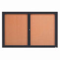"2 Door Framed Enclosed Bulletin Board Bronzed Anod. - 72""W x 48""H"