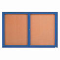 "2 Door Framed Illuminated Enclosed Bulletin Board Blue Powder Coat - 72""W x 48""H"
