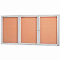 "3 Door Framed Enclosed Bulletin Board - 96""W x 48""H"
