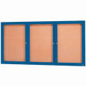 "3 Door Framed Enclosed Bulletin Board Blue Powder Coat - 96""W x 48""H"