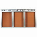 "3 Door Aluminum Framed Bulletin Board w/ Header, Illuminated - 96""W x 48""H"