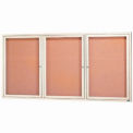 "3 Door Framed Illuminated Enclosed Bulletin Board Ivory Pwdr. Coat - 96""W x 48""H"