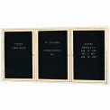 Aarco 3 Door Enclosed Letter Board Cabinet Ivory Powder Coated - 72