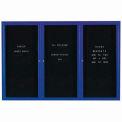 Aarco 3 Door Enclosed Letter Board Cabinet Blue Powder Coated - 72