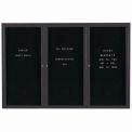 Aarco 3 Door Enclosed Letter Board Cabinet Black Powder Coated - 72