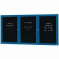 Aarco 3 Door Enclosed Letter Board Cabinet Blue Powder Coated - 96