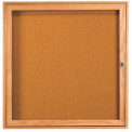 "1 Door Oak Enclosed Bulletin Board - 36""W x 36""H"