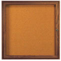 "1 Door Walnut Enclosed Bulletin Board - 36""W x 36""H"