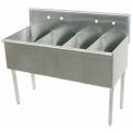 Four Compartment Budget Sink, 72L x 24-1/2W x 41H Overall, 300 Stainless Steel