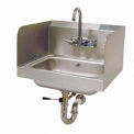 "Wall Mounted Hand Sink With 7-3/4"" Side Splashes, Lever Operated Drain, 10L x 14W Bowl"