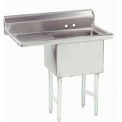 NSF Fabricated 1 Compartment Sink, 18L x 18W Bowl, 8-1/2 Splash, 18H Left Drainboard, 14Ga.
