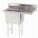 NSF Fabricated 1 Compartment Sink, 18L x 18W Bowl, 8-1/2 Splash, 18H Right Drainboard, 14Ga.