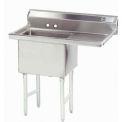 NSF Fabricated 1 Compartment Sink, 24L x 24W Bowl, 8-1/2 Splash, 18H Right Drainboard, 14Ga.