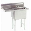 NSF Fabricated 1 Compartment Sink, 24L x 24W Bowl, 8-1/2 Splash, 24H Left Drainboard, 14Ga.
