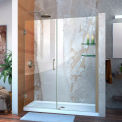 "DreamLine™ Unidoor Frameless Adjustable Shower Door SHDR-20587210S-04 W/Glass Shelves, 58""-59"""